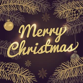 Glückliche feiertagsvektorgrußkarte der frohen weihnachten mit tannenzweigen und goldtypographie. frohe weihnachten der fahne und weihnachtsfeiertagsillustration