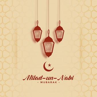 Glückliche festivalkarte milad uno nabi barawafat