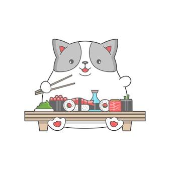 Glückliche fette katze essen sushi