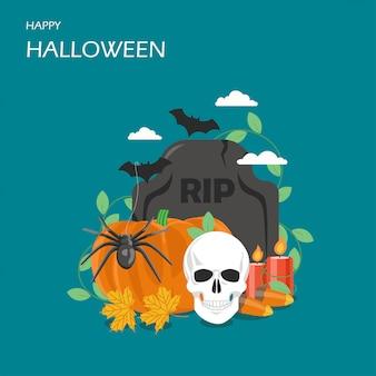 Glückliche flache art-designillustration halloweens