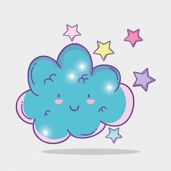 Glückliche flauschige wolke mit niedlichen sternen