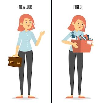 Glückliche frau auf neuer arbeit und traurige entlassene dame