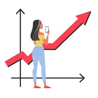 Glückliche frau, die an der grafik steht, die oben zeigt. idee des geschäftswachstums und der finanzanalyse. illustration