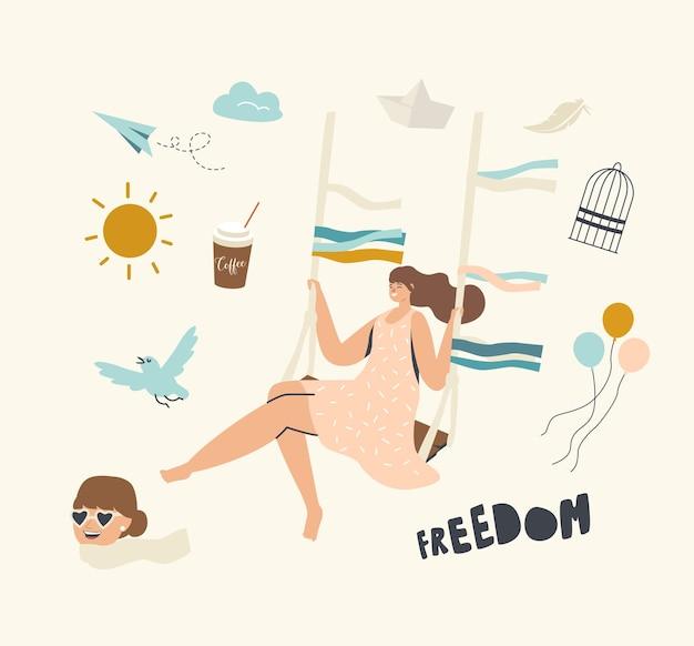 Glückliche frau, die auf wippe schwingt, die freude und das glück für die freiheit fühlt.
