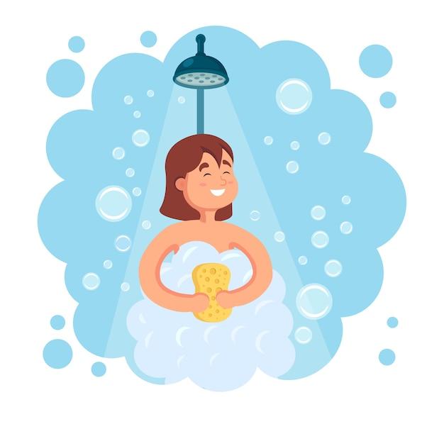 Glückliche frau, die dusche im badezimmer nimmt. waschen sie kopf, haare, körper und haut mit shampoo, seife und schwamm. hygiene, alltag.
