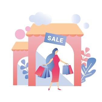 Glückliche frau, die einkaufszentrum mit einkäufen verlässt