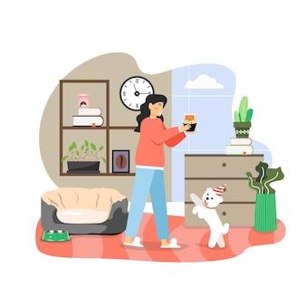 Glückliche frau, die feiertag mit ihrem haustierhund im festlichen kegelhut feiert und kürbisdessert mit knochen, flache vektorillustration gibt.