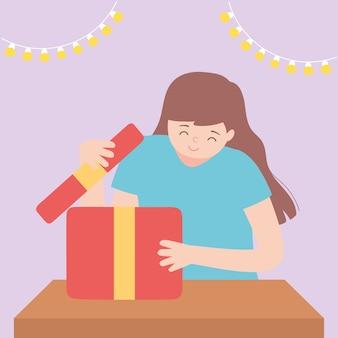 Glückliche frau, die geschenkbox mit lichtdekoration partyvektorillustration öffnet