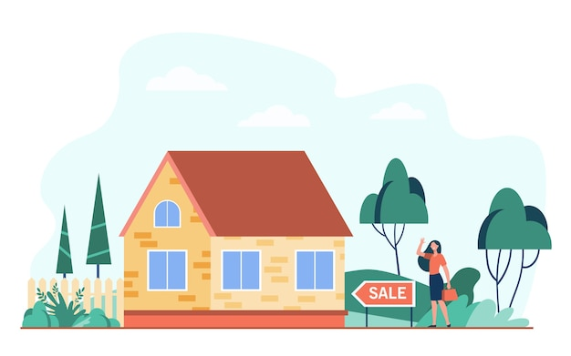 Glückliche frau, die nahe haus zum verkauf flache vektorillustration steht. karikatur-immobilienmakler oder hausverkäufer, der häuschen präsentiert. hypotheken- und gebäudekonzept