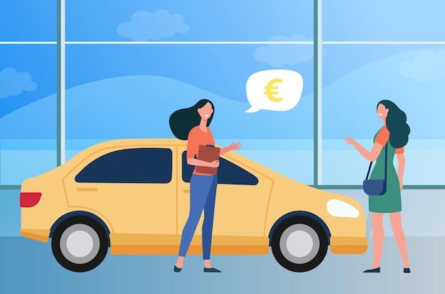 Glückliche frau, die neues auto im autogeschäft kauft