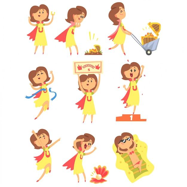 Glückliche frau, die viel glück und plötzlichen glücksschlag serie von comic-illustrationen hat