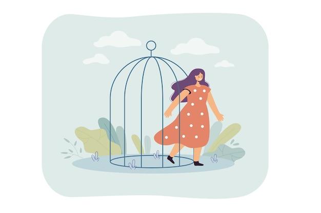 Glückliche frau, die vogelkäfig verlässt leaving