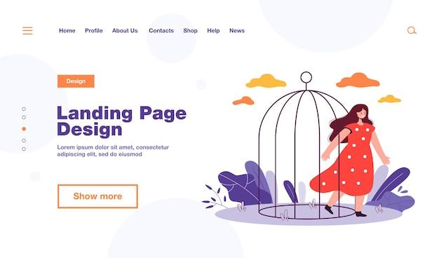 Glückliche frau, die vogelkäfig verlässt. weibliche karikatur, die aus dem käfig kommt und flache illustration öffnet