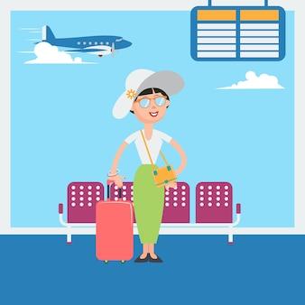Glückliche frau, die zur abfahrt zu den ferien im flughafen wartet. vektor-illustration