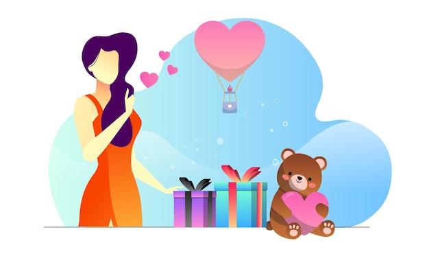 Glückliche frau im kleidgeschenk präsentiert romantischen illustrationshintergrund