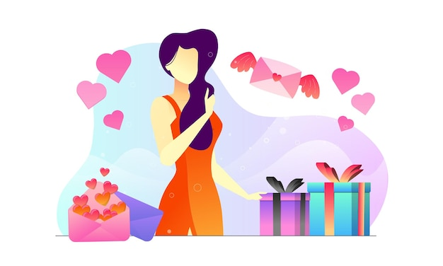 Glückliche frau im kleidgeschenkgeschenk valentinsgrußillustrationshintergrund