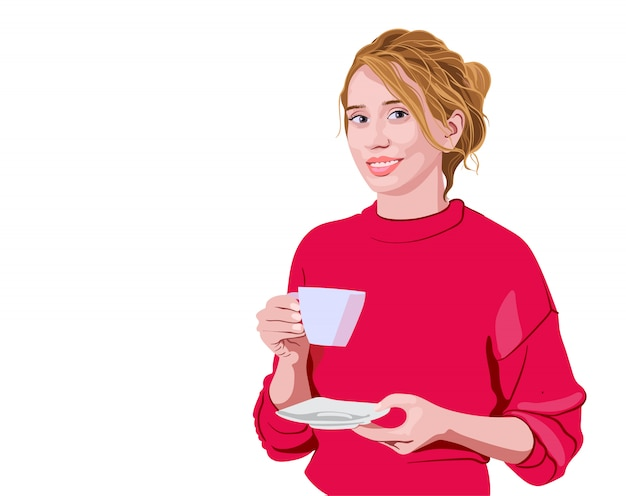 Glückliche frau im rosa pullover, der eine tasse hält und lächelt