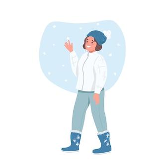 Glückliche frau im winter flachen farbe detaillierten charakter