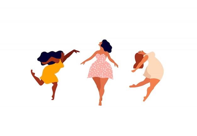 Glückliche frau. körper positive karte. lieben sie ihren körperbeschriftungstyp. weibliche freiheit, frauenpower oder internationale frauentagsillustration.