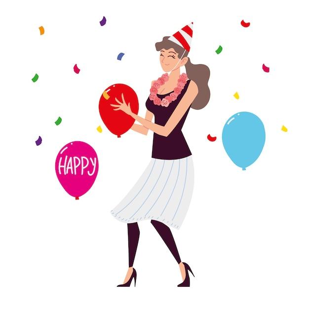 Glückliche frau mit blumenhalskette partyhut und luftballons
