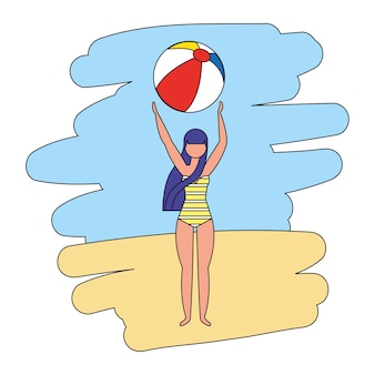 Glückliche frau mit strandballon-vektorillustration