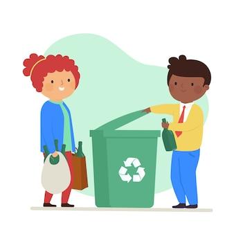Glückliche frau und mann, die den müll recyceln