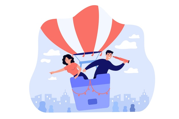 Glückliche frau und mann, die nach mitarbeitern auf luftballon lokalisierte flache illustration suchen