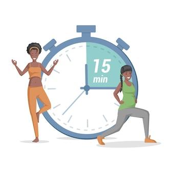 Glückliche frauen, die yoga auf dem hintergrund des timer-vektors tun