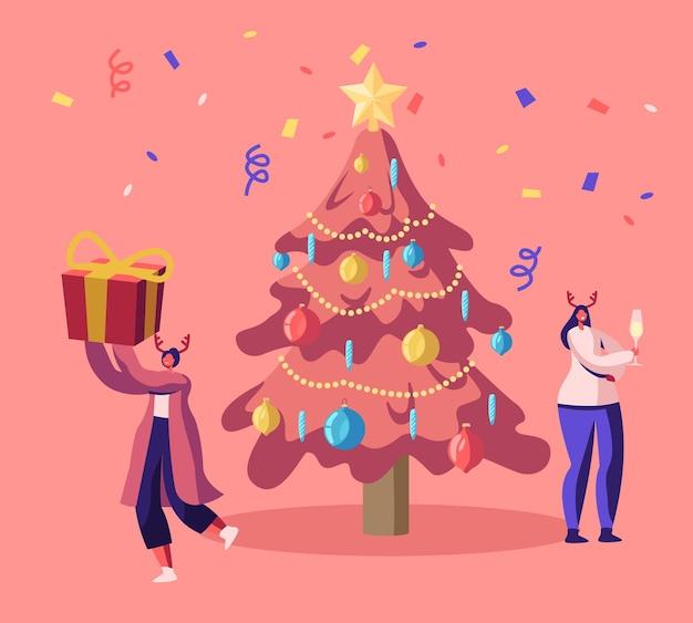 Glückliche frauen in hirschhörnern hüte, die neujahr oder weihnachtsfeier feiern. karikatur flache illustration