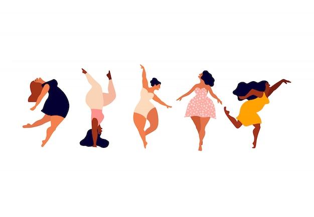 Glückliche frauen. körper positiv, liebe dich selbst, dein körperkonzept. weibliche freiheit, frauenpower oder internationale frauentagsillustration.