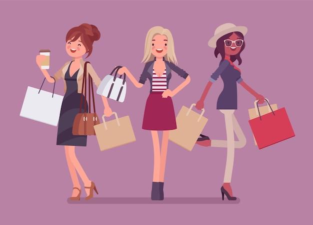 Glückliche frauen nach dem einkaufen. drei elegante damen kaufen in einem geschäft ein, glamouröse kundinnen tragen einkäufe und geben gerne geld für neue stoffe und accessoires aus. stil cartoon illustration