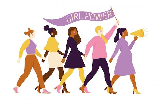Glückliche frauen oder mädchen, die zusammen stehen und hände halten. gruppe von freundinnen, union von feministinnen, schwesternschaft. flache zeichentrickfilm-figuren lokalisierten illustration.