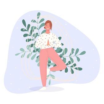 Glückliche frauen stehen auf dem boden und meditieren in yoga-pose