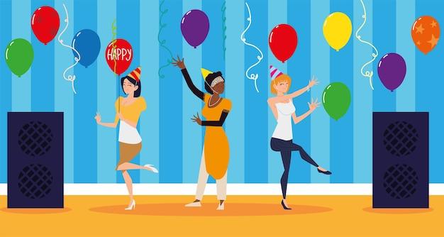 Glückliche frauen tanzen mit musik und luftballons