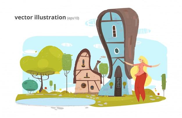 Glückliche frauenruhe in der dorf-karikatur-illustration