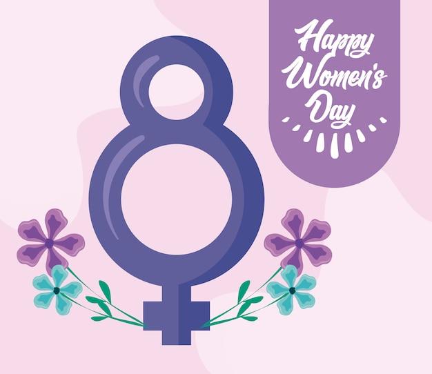 Glückliche frauentageskarte mit weiblichem geschlechtszeichen
