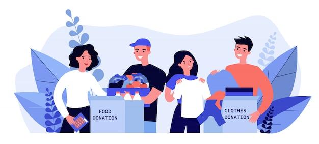 Glückliche freiwillige, die kleidung und essen für wohltätige zwecke spenden