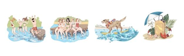 Glückliche freunde an den feiertagen, leute springen in wasser, frauen sitzen auf pier, hund in der sonnenbrille auf surfbrett, sommerzeitsatz
