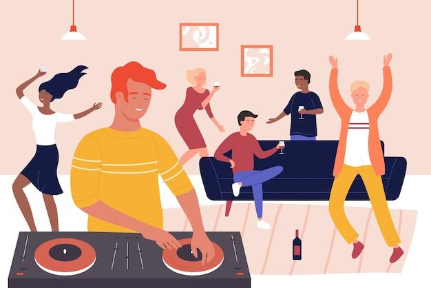 Glückliche freunde bei der musikalischen hausparty