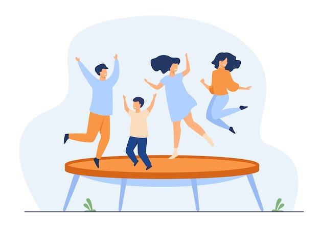 Glückliche freunde, die auf flache trampolin-vektorillustration springen. cartoon-leute, die spaß haben und hüpfen