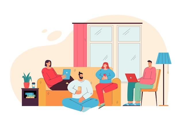 Glückliche freunde, die im wohnzimmer mit flacher illustration der digitalen geräte sitzen