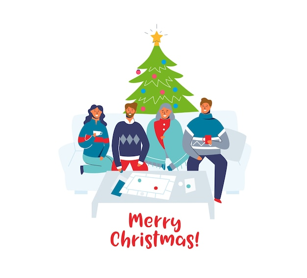 Glückliche freunde, die weihnachten zusammen zu hause feiern. charaktere an winterferien mit weihnachtsbaum. zwei paare am neuen jahr.