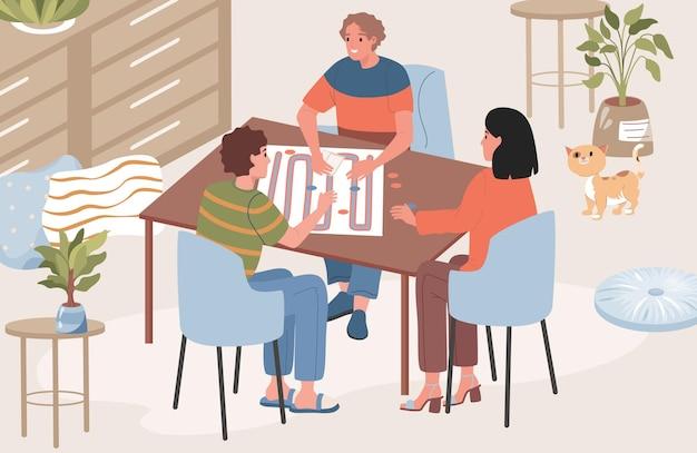 Glückliche freunde, die zeit zusammen verbringen, tischspiel spielen