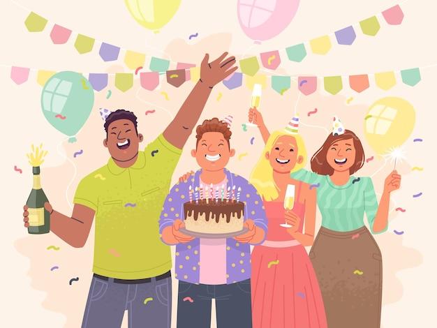 Glückliche freunde feiern geburtstag jungs und mädchen haben spaß auf der party