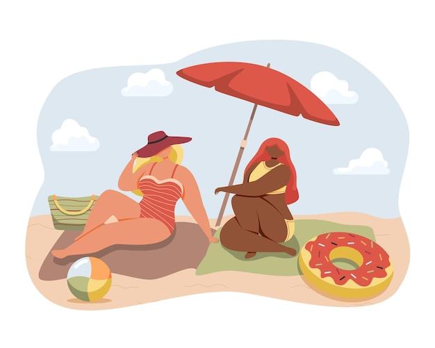 Glückliche freunde oder paare, die auf der strandillustration mit sand und blauem himmelshintergrund ein sonnenbad nehmen