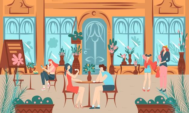 Glückliche freunde zusammen auf hausszene, gruppe fröhlicher freundlicher leutejugendlicher, die gehende illustration sprechen.