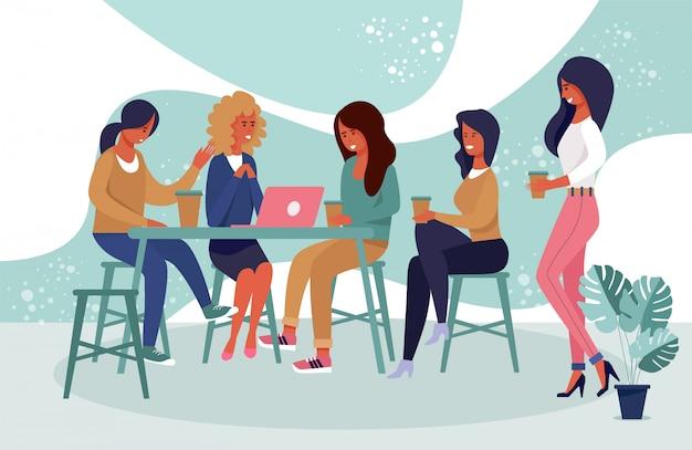 Glückliche freundinnen-gruppen-charaktere stehen am café still