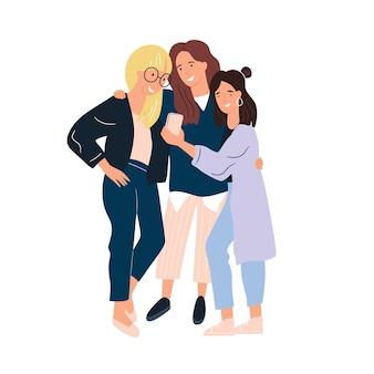 Glückliche freundinnen zusammen flache illustration. gruppe der lächelnden frau, die freundschaft, unterstützung und zusammenarbeit isoliert genießt. lustige menschen demonstrieren einheit