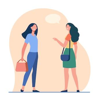 Glückliche freundliche frauen, die draußen sprechen. freundinnen, die zufällige flache vektorillustration treffen. kommunikation, öffentlicher ort