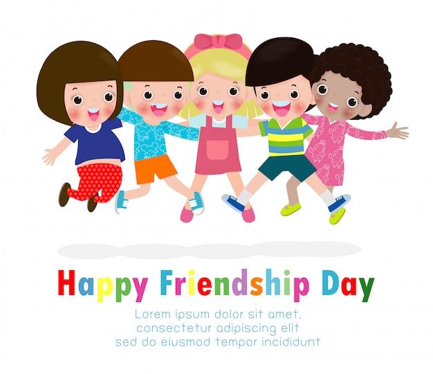Glückliche freundschaftstagesgrußkarte mit der verschiedenen freundgruppe kindern, die zusammen für feier des besonderen anlasses springen und umarmen